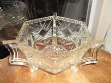 LARGE HEAVY ART DECO GLASS BOWL UNUSUAL TRICORN HANDLE DESIGN DEEP GEOMETRIC CUT